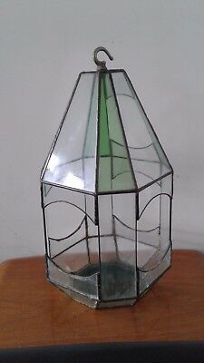 Vintage Lead And Stained Glass Terrarium 19 99 Picclick Uk