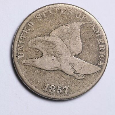 1857 Flying Eagle Small Cent CHOICE G+/VG FREE SHIPPING E106 WCF