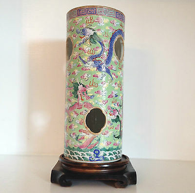 Rare Antique Vintage Chinese Porcelain Dragon Vase Hat Stand ~Marked ~Old Stand