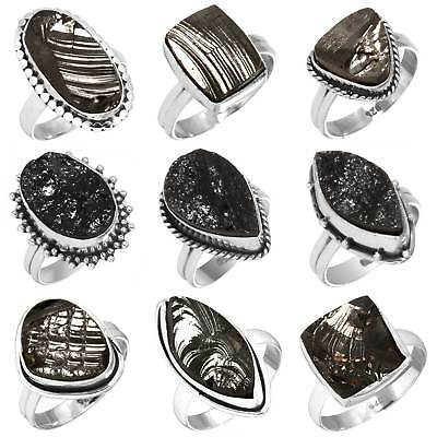 Solid 925 Sterling Silver Natural Russian Shungite Ring Size 5 6 7 8 9 10 px840