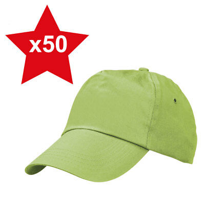 50 x Lime Green Classic Plain Adjustable Baseball Caps 100% Cotton Brand New