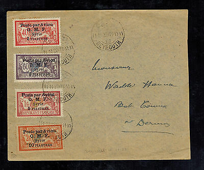 1922 Syria Cover airmail OMF Overprints to Germany Mi # 176-179