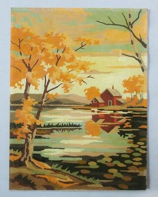 1957 Vintage Paint By Number Pair of Autumn Landscapes by Craftint