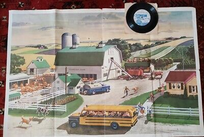 1969 National Dairy Council Vintage Poster & Dairy Farm Panorama 33 rpm record
