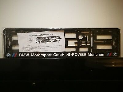 1x CAR LICENCE NUMBER PLATE SURROUND HOLDER FRAME for BMW. M-POWER, M, Sport.