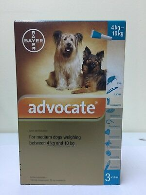 Advocate For Medium Dogs Weighing 4-10 Kg 1 Box 3 pipettes x 1.0ml + Tracking
