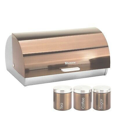 Matching Kitchen Set of Roll Top Bread Bin Box Tea Coffee Sugar Canisters Copper