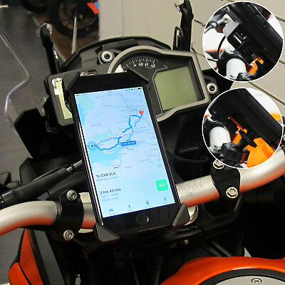 360° Universal Mobile Phone USB Handlebar Holder Mount Motorcycle Bike Motorbike