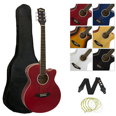 Tiger Full Size Beginners  Acoustic Guitar Package, Bag, Strap & Strings - Red