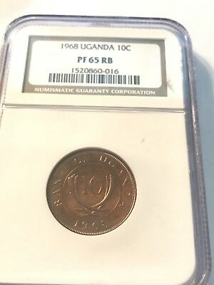 UGANDA (+East Africa) 1968 10 Cent NGC PF65RB.  ONLY ONE GRADED BY NGC.