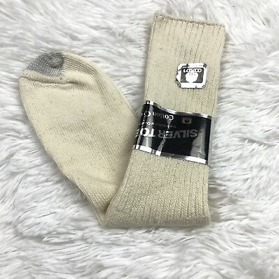 VTG Silver Toe Cotton Crew Men's Off White Socks Shoe Sz. 6.5-12 Sock Sz. 10-13