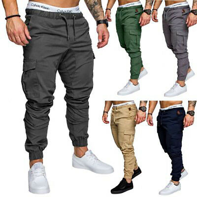 US STOCK Mens Slim Fit Straight Leg Trousers Casual Pencil Jogger Cargo Pants SP