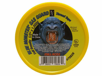 """Blue Monster Gas Guard Yellow PTFE Thread Tape - 1/2"""" x 1,000"""""""