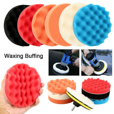 "8Pcs 7"" sponge Polishing waxing Buffing Pads Kit Compound-Auto Car Drill Adapter"
