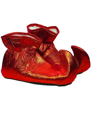 Red Adult Elf Shoes Santa Claus Helper Christmas Costume Cloth Shoes