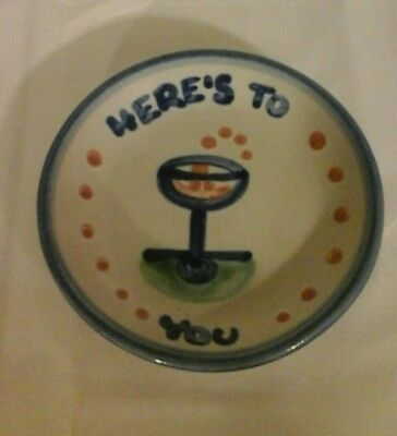 "M.A. HADLEY POTTERY COASTER Small 4.25"" Trinket HERE'S TO YOU! Champagne Glass"