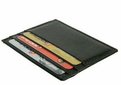 BLACK MEN's LEATHER THIN SLIM Light Wallet Holder Money Credit Card ID 6 Slots