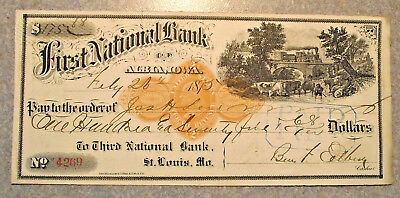 2-26-1875 Cancelled Check - First National Bank, St. Louis, Mo (Lot M55)