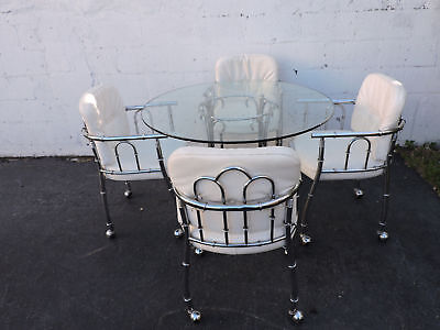 Hollywood Regency Chrome and Round Glass Top Dining Table with 4 Chairs 7955