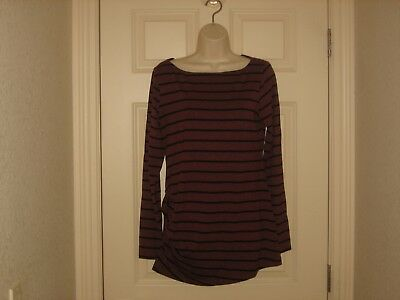 ~A Pea In the Pod~ Womens Stripe Ruched L/S Maternity Shirt~ Sz M~EUC~