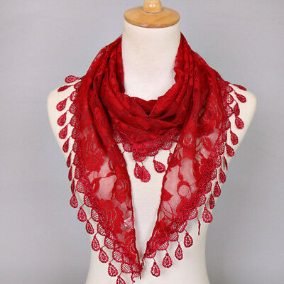 Scarf Tassel Women Wraps Triangle Rose Floral Shawls Dress Accessories Hollow