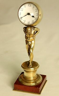 Old French antique mantel clock, Atlas holding the world