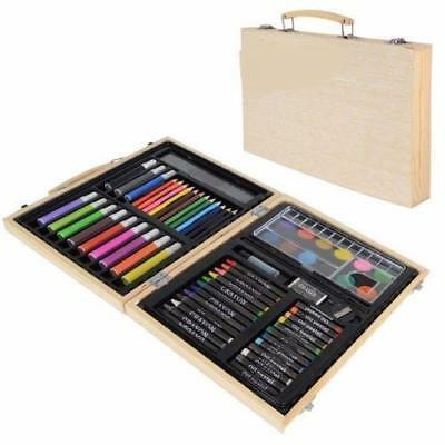 68pcs Wooden Kids Colouring Art Set Case Box Pens Pencils Crayons Xmas Art Gift