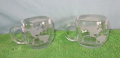 Two Vintage 1970's Nestle Nescafe Coffee Glass World Mug Cup