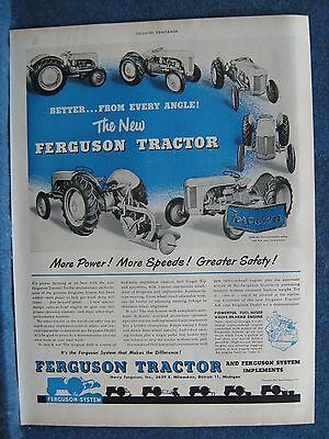1948 Ferguson Tractor Orig Ad Print View From Every Angle Nameplate Close-Up