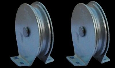 Flat Mount Wire Rope Pulley Blocks (1 pair) 600 Lb Load Cap. Plated Steel Zinc