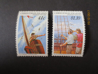 no--1-- 1990  CHRISTMAS  ISLAND  NAVIGATORS   ISSUE'S  2  STAMPS-MINT