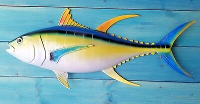 "Tuna Hand Painted 28"" Replica Wall Mount Sculpture Game Fishing Yellow Fin"