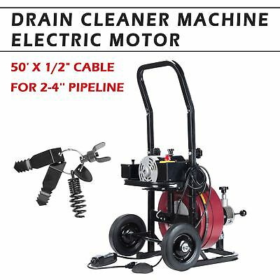 50FT*1/2'' Drain Auger Pipe Cleaner Machine Local Snake Sewer Clog W.Cutter edy