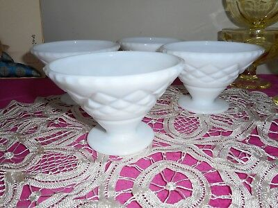 Set of 4 milk glass vintage sweet dishes