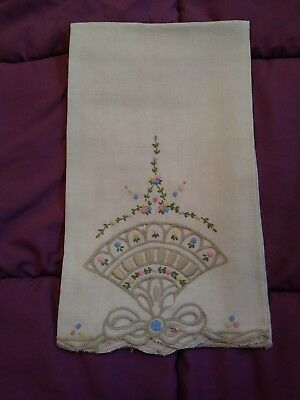 """Embroidered Linen Hand Towel 22"""" by 14"""""""