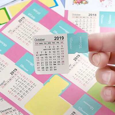 Multicolor 2018-2019 Annual Calendar Index Sticker Month Category Planner Label