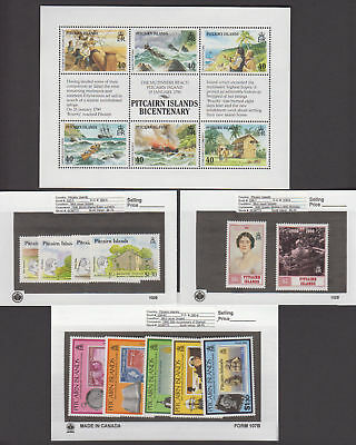 Pitcairn Is. - 1990 Commemorative Sets & S/S. Sc. #331-53. SG #356a-398. Mint NH