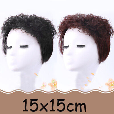 15*15CM Clip In 100% Remy Human Curly Hair Topper Hairpiece Toupee Top Piece