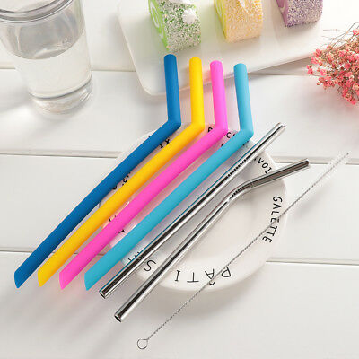 7pcs/set Reusable Stainless Steel Drinking Straw Food Grade +Cleaner Brush Hot!