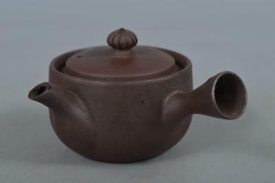 R1434: Japanese Banko-ware Brown pottery TEAPOT Kyusu Sencha, Tea Ceremony