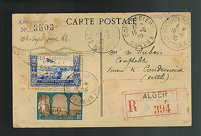 1930 Algeria Postcard First Flight cover to Sarthe North Africa Stamp Show FFC