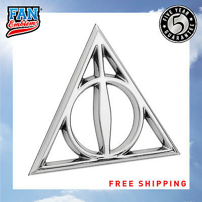 Almost Anything Trucks Laptops Windows Harry Potter Automotive Sticker Decal Badge Flexes to Fully Adhere to Cars Fan Emblems Deathly Hallows 3D Car Emblem Chrome Motorcycles
