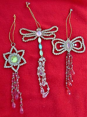 Rare Beautiful Antique Rhinestone Jeweled Ornaments~Dragonfly, Butterfly & Star