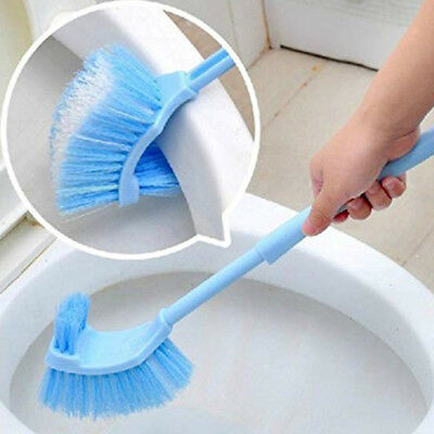 Curved Plastic Toilet Cleaning Brush Corner Rim Cleaner Bent Bowl Handle