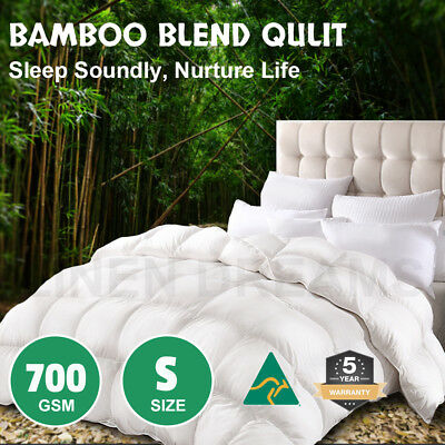 Aus Made Single Microfiber Microfibre Bamboo Winter Down Quilt Duvet Doona