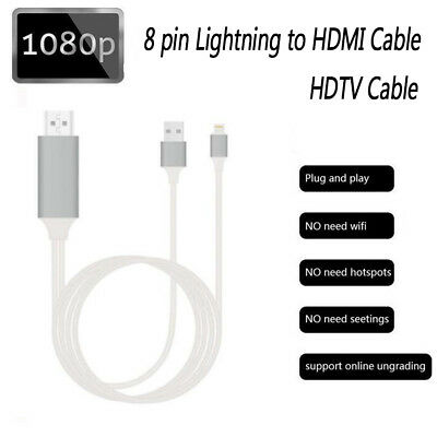 Lightning Digtal  Cabel 8 Pin to HDMI Cable Adapter 1080P 2M for iPhone to TV AU