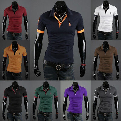 Fashion Men Slim Fit Stylish POLO Shirt Short Sleeve Casual T-shirts Tee TopS