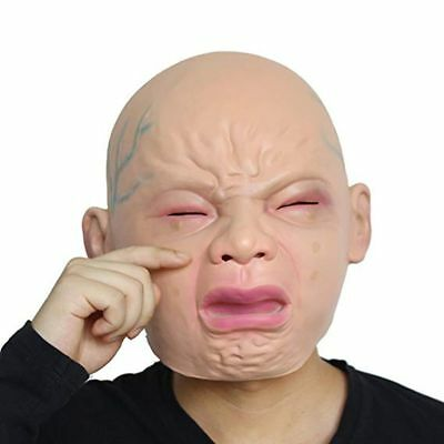 Crying Face Baby Rubber Latex Mask Overhead Scary Halloween Fancy Dress Props
