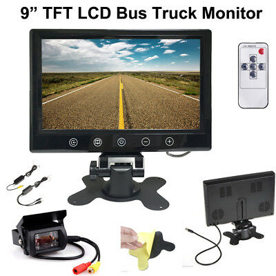 Wireless Rear Backup Night Vision Camera+Rearview Monitor for RV Bus Truck Kit