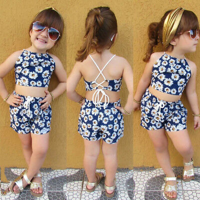 Fashion Newborn Kids Baby Girls Flower Crop Vest Top Short Pants Outfits Clothes